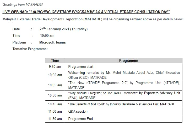 "LIVE WEBINAR: ""LAUNCHING OF ETRADE PROGRAMME 2.0 & VIRTUAL ETRADE CONSULTATION DAY"""